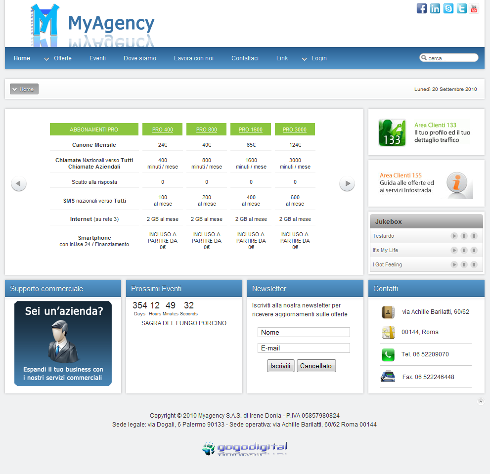 MyAgency business consulting for companies - offers three contracts and Infostrada